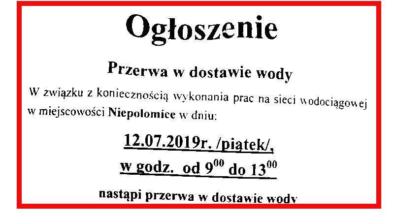 Ogłoszenie Spółki Wodociągi Niepołomickie