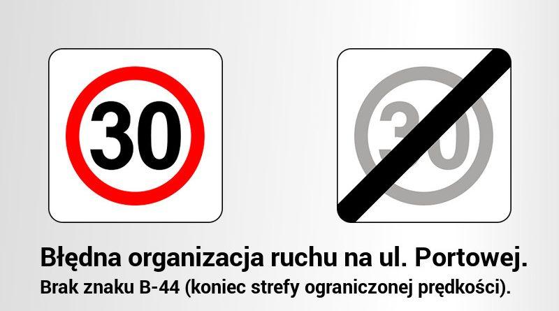 Błędna organizacja ruchu ul. Portowa, Niepołomice