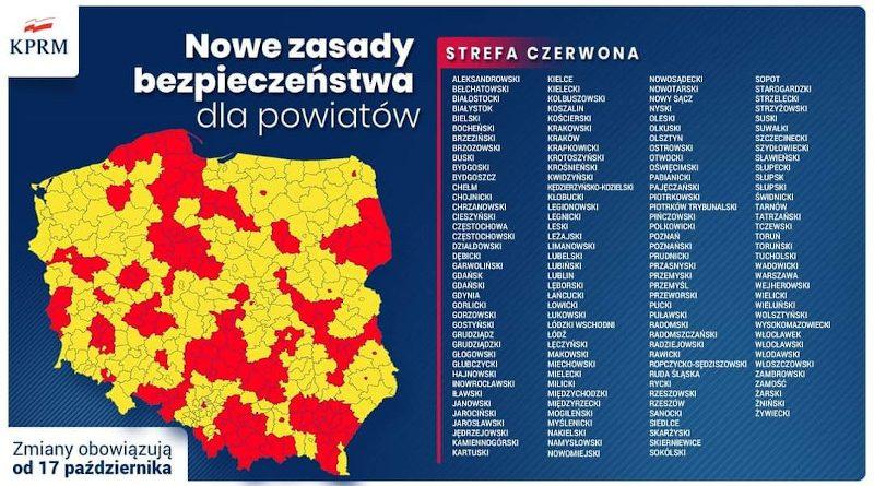 Nowe zasady bezpieczeństwa dla powiatów od 17.10.2020r