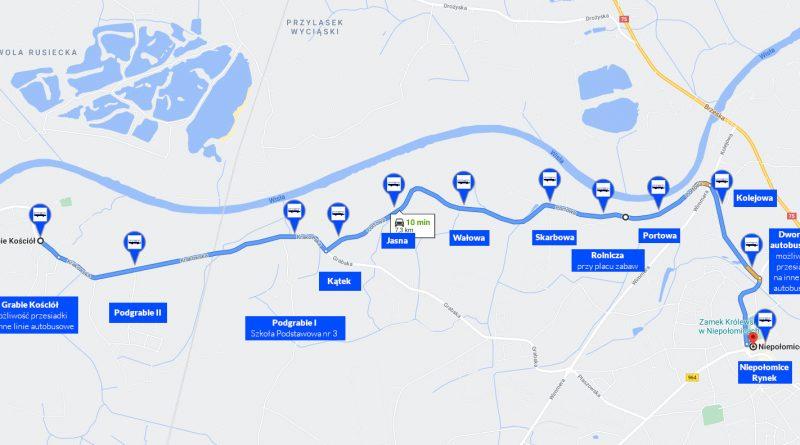 Proponowana trasa busa z Podgrabia do centrum Niepołomic