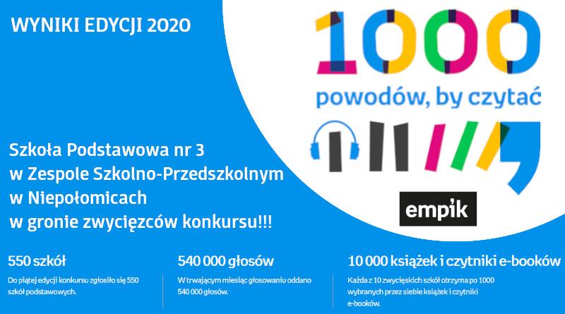 """Wyniki piątej edycji konkursu """"1000 powodów, by czytać"""" organizowanego przez Empik"""