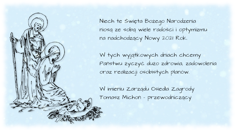 Życzenia świąteczno-noworoczne 2021 Niepołomice Osiedle Zagrody